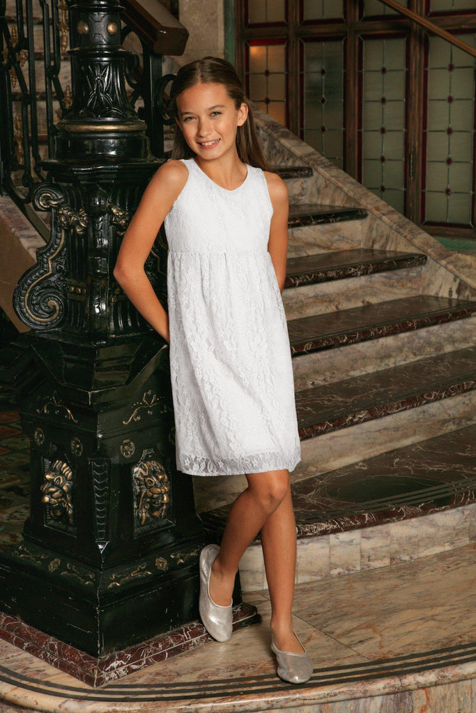 239c6f7b2e1d2 White Stretchy Lace Empire Waist Sleeveless Day Mommy and Me Dress - Pineapple  Clothing