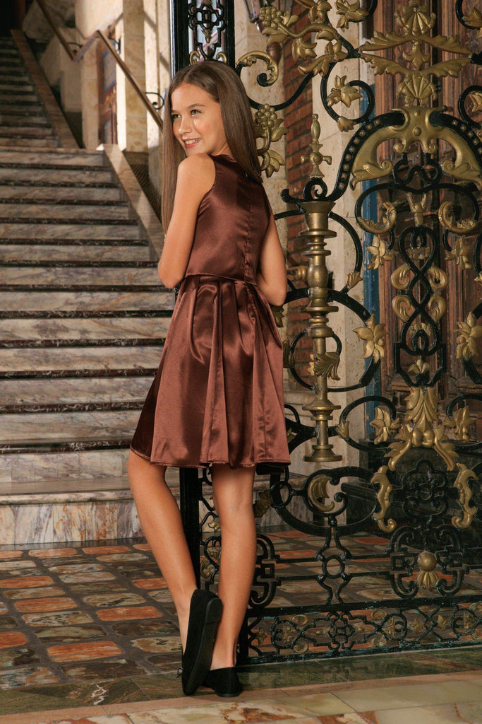 Chocolate Brown Charmeuse Sleeveless Skater Fancy Summer Dress - Girls - Pineapple Clothing