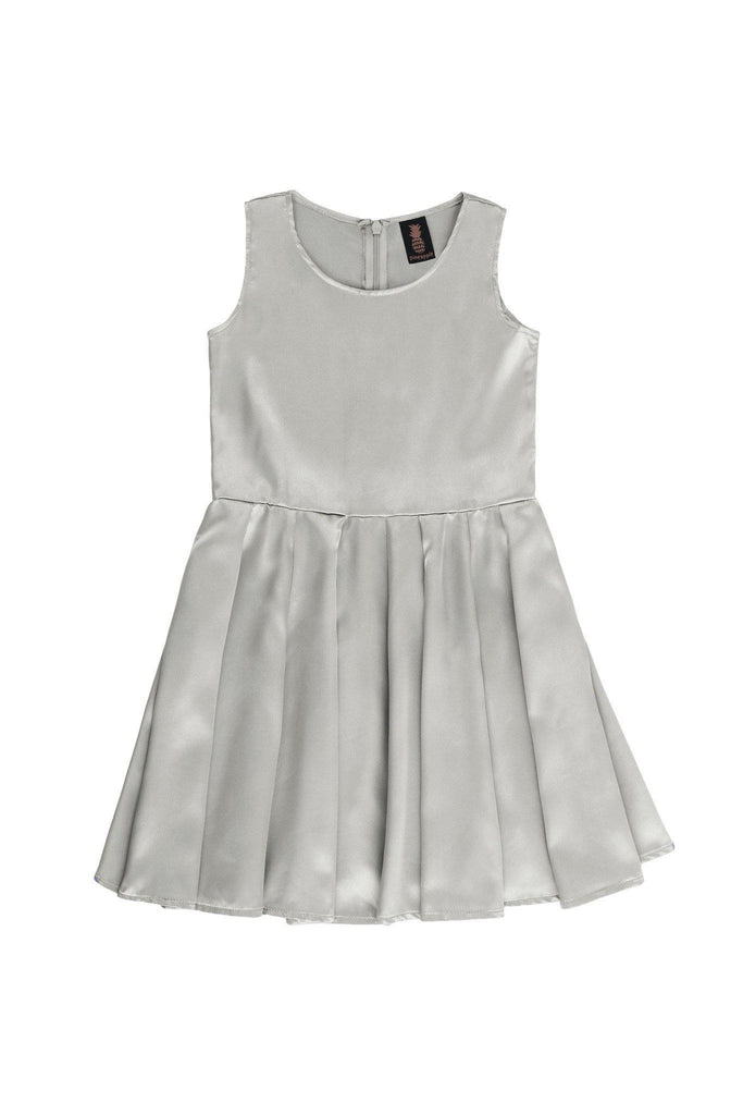 Silver Grey Sleeveless Skater Fit & Flare Party Mother Daughter Dress - Pineapple Clothing
