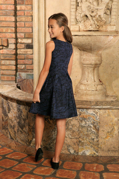 Navy Animal Print Sleeveless Skater Fit & Flare Party Dress - Girls