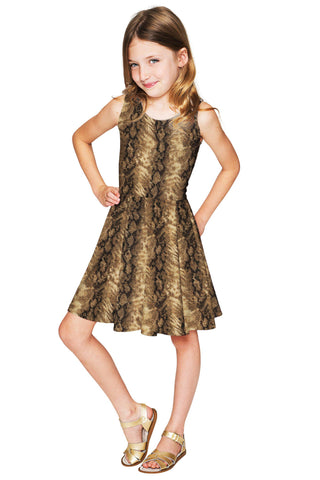 Animal Print Fancy Fit & Flare Skater Party Dress - Girls