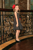 Black Grey Sleeveless Skater Fit & Flare Classy Party Dress - Girls - Pineapple Clothing