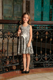 Black White Stretchy Sleeveless Skater Fit & Flare Party Dress - Girls - Pineapple Clothing