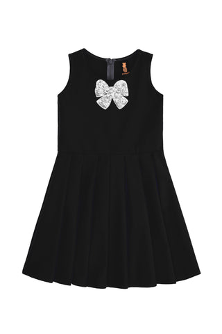Black Fancy Fit & Flare Skater Christmas Party Dress - Girls - Pineapple Clothing
