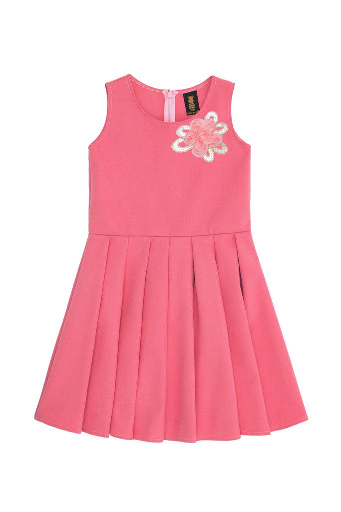 Coral Pink Fancy Fit & Flare Skater Christmas Party Dress - Girls - Pineapple Clothing