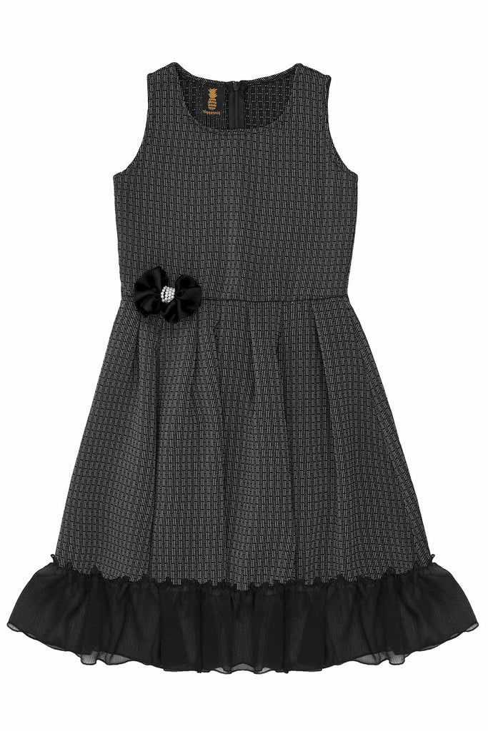 Gray Fit & Flare Ruffled Hem Chic Holiday Party Christmas Dress - Girls - Pineapple Clothing