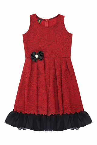 Ruby Red Fit & Flare Ruffled Chic Holiday Party Christmas Dress Girls - Pineapple Clothing