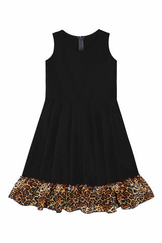 Black Leopard Print Vizcaya Fit & Flare Party Dress - Girls