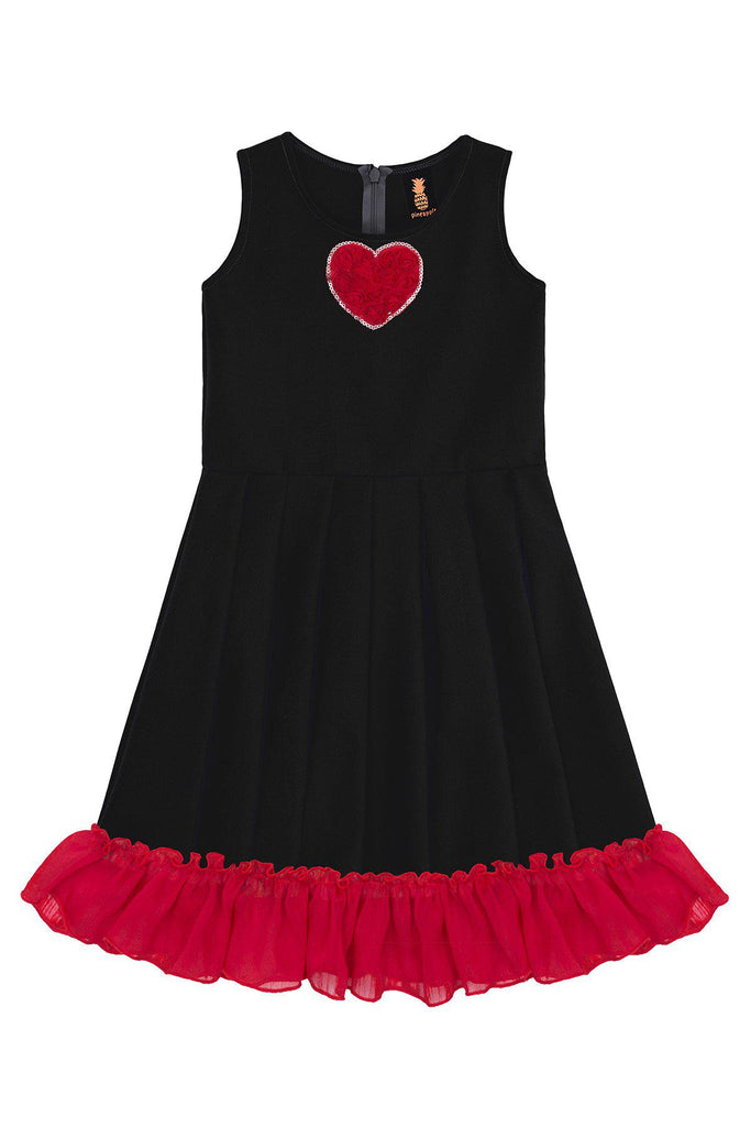 Black Fit & Flare Ruffled Hem Holiday Party Christmas Dress - Girls