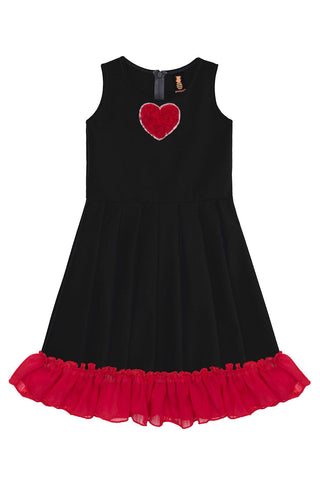 Black Fit & Flare Ruffled Hem Holiday Party Christmas Dress - Girls - Pineapple Clothing
