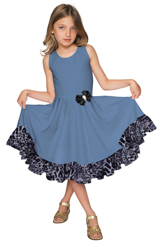 Blue Fit & Flare Ruffled Hem Holiday Party Christmas Dress - Girls - Pineapple Clothing