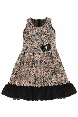 dd98df30f3c7 Brown Black Fit Flare Ruffled Hem Holiday Party Christmas Dress Girls - Pineapple  Clothing