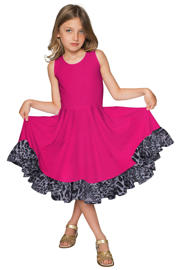 Hot Pink Fit & Flare Ruffled Hem Holiday Party Christmas Dress ...