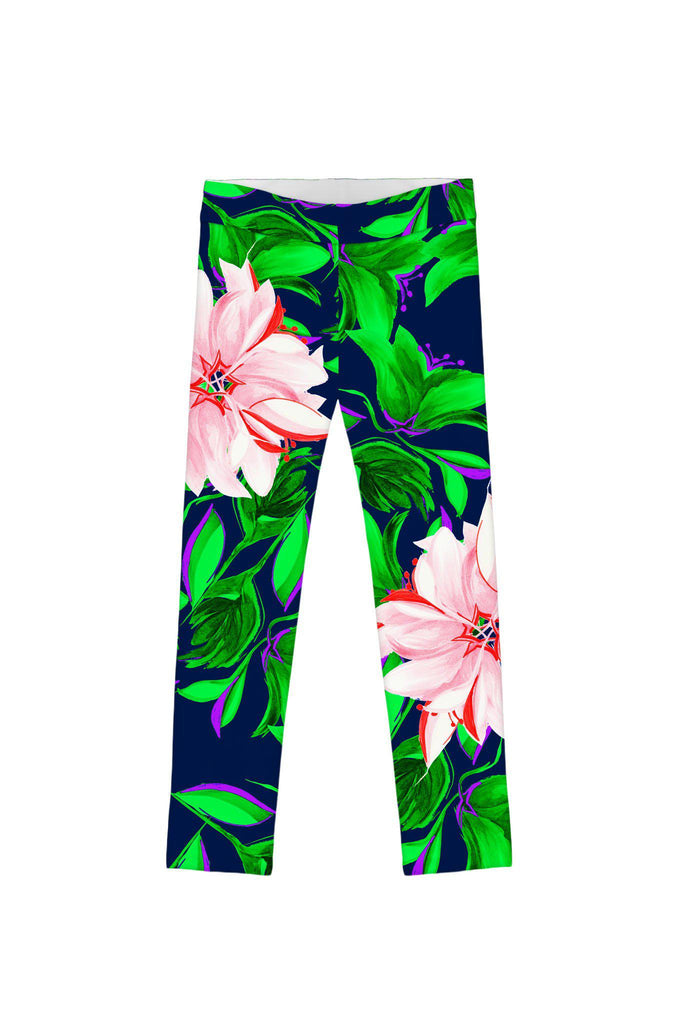 Flower Child Lucy Navy Cute Colorful Printed Leggings - Girls - Pineapple Clothing