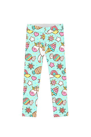 My Friend Unicorn Lucy Cute Colorful Mint Printed Leggings - Girls - Pineapple Clothing