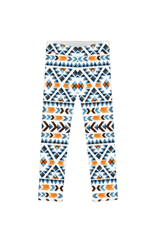 Etno Chic Lucy White Bohemian Print Fall Fashion Leggings - Girls