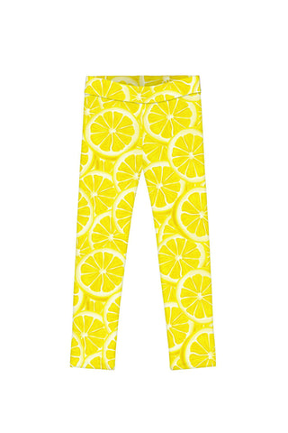 A Piece of Sun Lucy Yellow Lemon Print Cute Summer Leggings - Girls - Pineapple Clothing