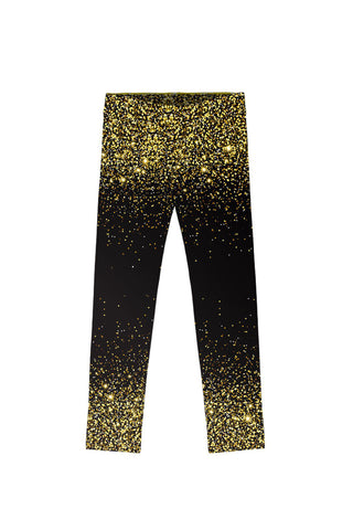 Chichi Lucy Black & Gold Glitter Print Cute Leggings - Girls - Pineapple Clothing