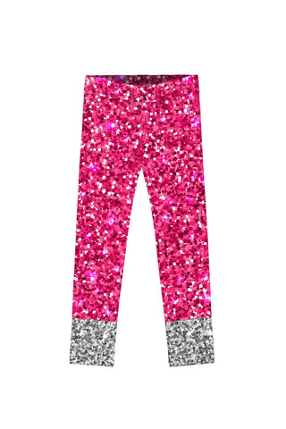 Glam Doll Lucy Pink & Silver Glitter Print Cute Leggings - Girls - Pineapple Clothing