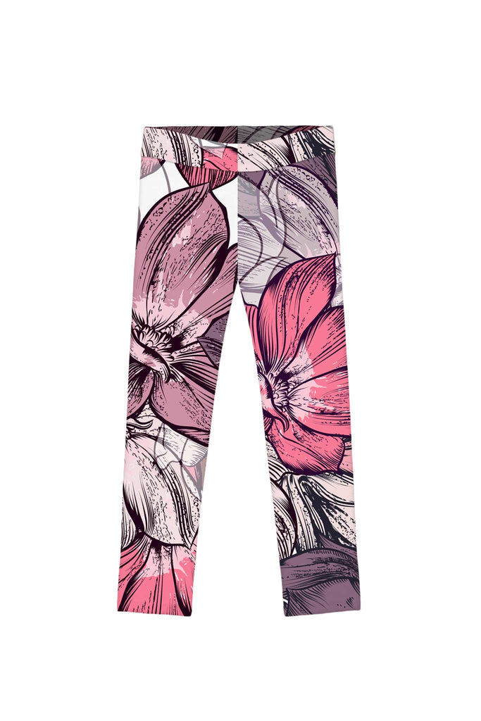 Fantasia Lucy Cute Pink Flower Print Leggings - Girls - Pineapple Clothing