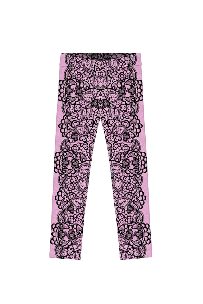 Lady Vamp Lucy Trendy Pink Lace Print Leggings - Girls - Pineapple Clothing