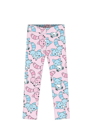 Call Me Kitty Lucy Cute Pink Blue Cat Print Leggings - Girls - Pineapple Clothing