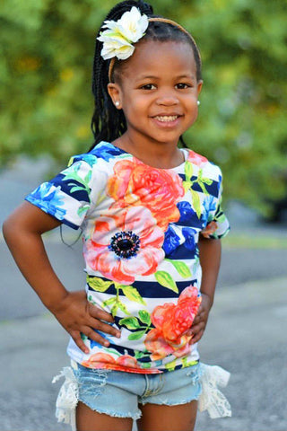 Hey-Sailor! Zoe Striped Floral Print Cute Designer Tee - Girls