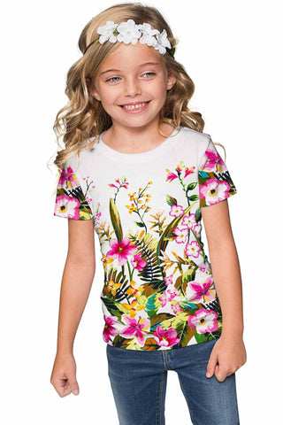 Mountain Garden Zoe White Floral Tropical Print Summer Eco Tee - Girls - Pineapple Clothing
