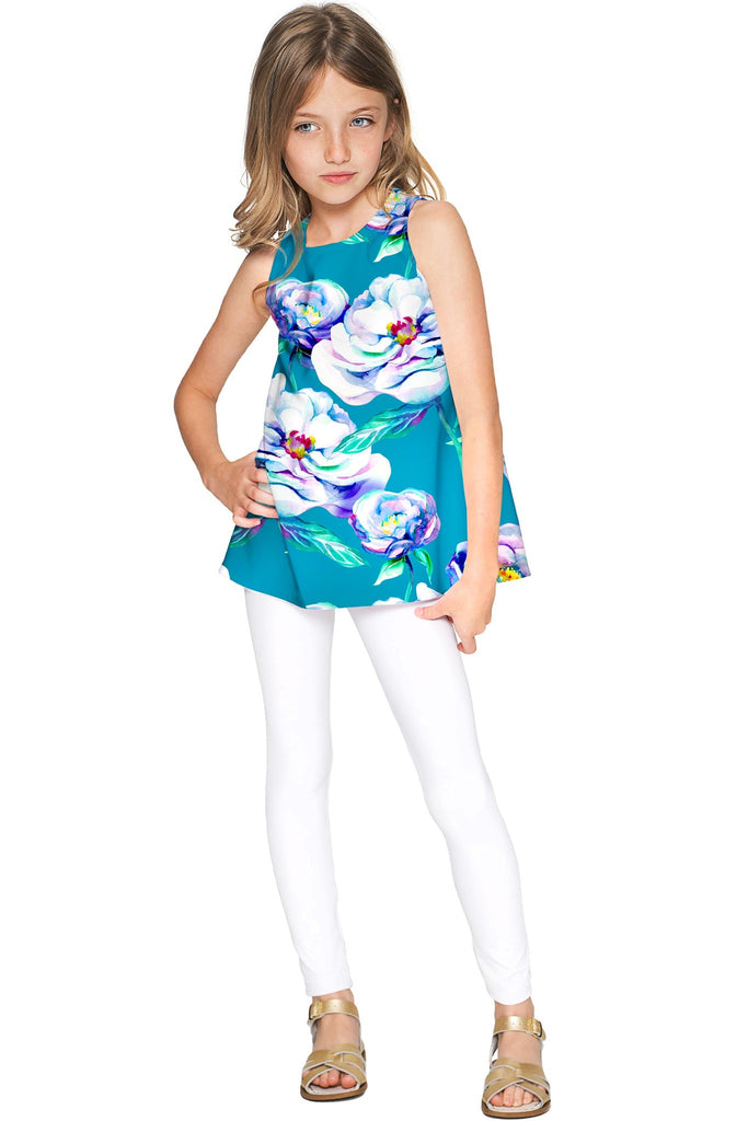 Gentle You Emily Blue Flower Cute Sleeveless Eco Top - Girls - Pineapple Clothing