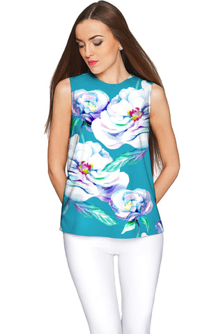 Gentle You Emily Blue Floral Elegant Sleeveless Top - Women - Pineapple Clothing