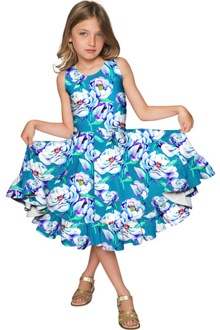 9813a9840cf Gentle You Vizcaya Fit   Flare Blue Flower Print Dress - Girls - Pineapple  Clothing