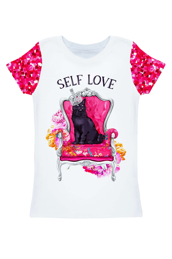 Glam Doll Zoe White & Pink Cute Printed T-Shirt - Women