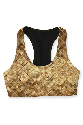 Golden Tiles Stella Printed Seamless Racerback Sport Yoga Bra - Women