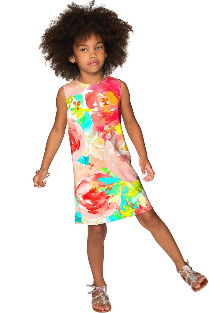 Good Idea Adele Colorful Floral Print Shift Sundress - Girls - Pineapple Clothing