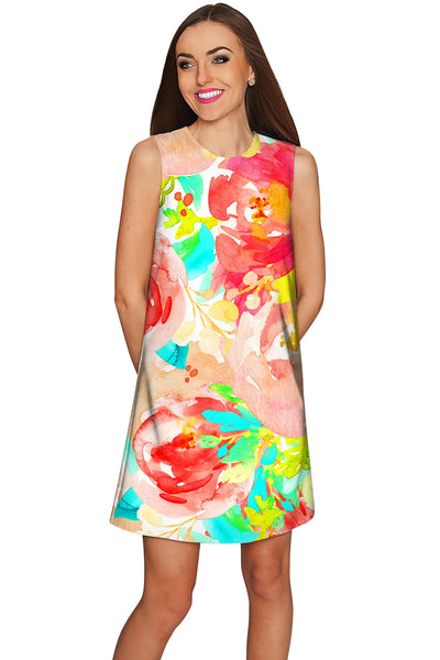 Good Idea Adele Floral Print Summer Shift Dress - Women