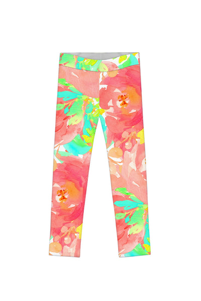 Good Idea Lucy Floral Printed Cute Summer Leggings - Girls
