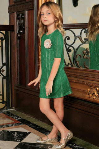Turquoise Green Crochet Lace Elbow Sleeve Cute Party Summer Dress Girl