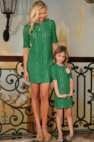 Turquoise Green Crochet Lace Half Sleeve Party Mother Daughter Dress - Pineapple Clothing