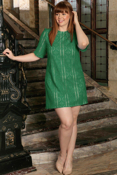 Green Crochet Lace Sleeved Spring Party Sexy Shift Dress - Women Plus Size