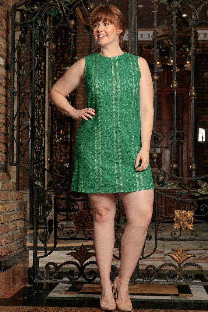 Turquoise Green Crochet Sleeveless Party A Line Curvy Dress Plus