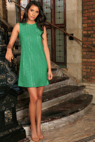 Turquoise Green Crochet Lace Summer Party Shift Mini Dress - Women