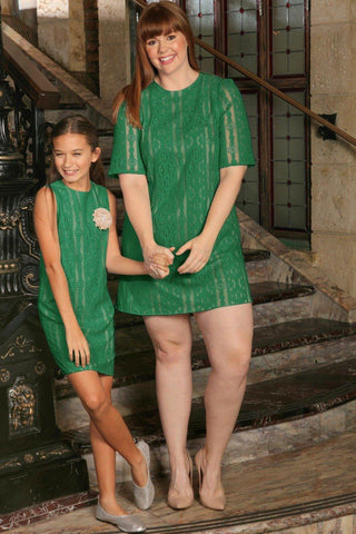 Turquoise Green Crochet Trendy Party Mother Daughter Dress Plus Size - Pineapple Clothing