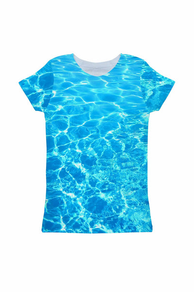 Harmony Song Zoe Blue Water Print Designer Tee - Girls