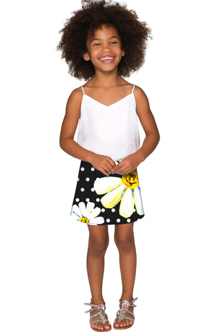 He Loves Me Aria Black Daisy Flower A-Line Skirt - Girls - Pineapple Clothing