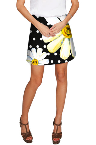 He Loves Me Aria Black Daisy Flower A-Line Skirt - Women - Pineapple Clothing