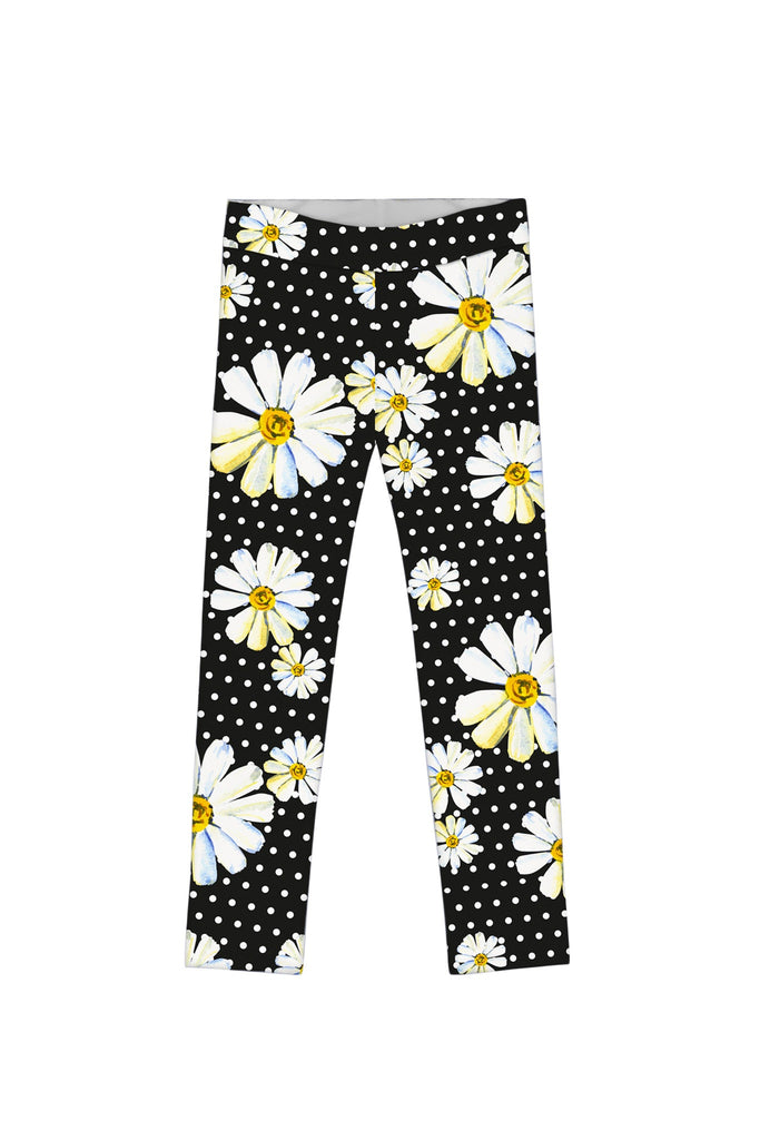 He Loves Me Lucy Black Daisy Flower Print Legging - Girls - Pineapple Clothing