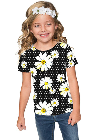He Loves Me Zoe Black Daisy Floral Print Cute T-Shirt - Girls - Pineapple Clothing