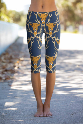 Hello My Deer Ellie Navy Performance Yoga Capri Leggings - Women - Pineapple Clothing