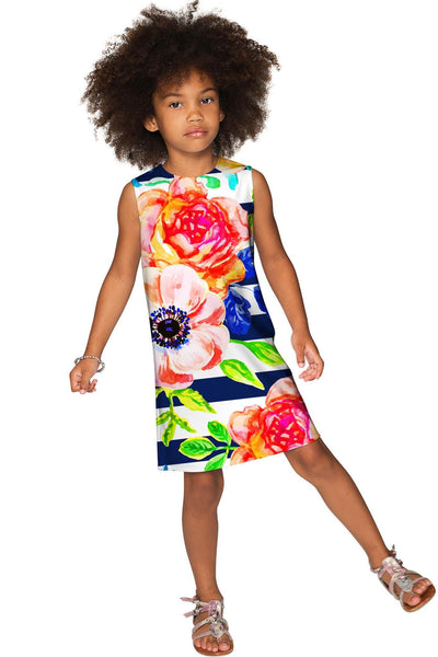 Hey-Sailor! Adele Striped Floral Summer Shift Dress - Girls