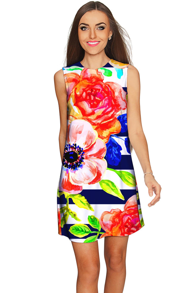 Hey-Sailor! Adele Striped Floral Print Shift Dress - Women - Pineapple Clothing